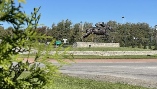 A roundabout with a big bronze horse statue in the middle.