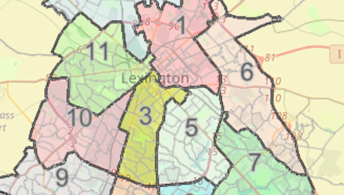 A map of Lexington color coded with the districts